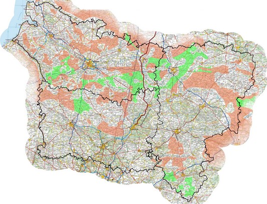 Carte du schéma régional éolien de Picardie, Oise, Aisne et Somme